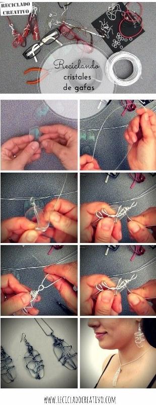 Cómo hacer pendientes y colgante reciclando unas gafas viejas