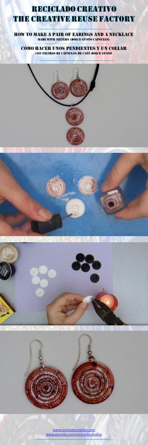 Pendientes y collares hechos con filtros de capsulas de cafe Dolce Gusto reciclados