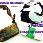Bolso con dos foulards y una caja de cartón