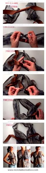 Blusa sin coser, con un pañuelo. DIY