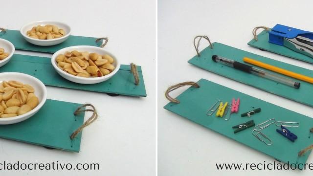 Mini bandejas planas realizadas reciclando cajas de fresas