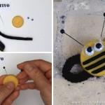 Manualidades con niños - Tapones reciclados - diy abeja