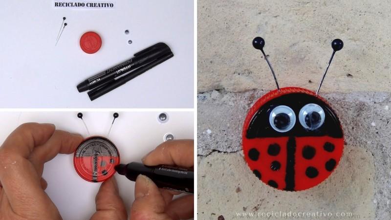 Manualidades para niños - Mariquita con tapones DIY