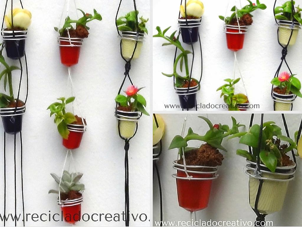 Mini maceteros colgantes con c psulas de caf recicladas - Maceteros de plastico ...