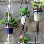 Mini maceteros con hilo - DIY - reciclaje cápsulas de café