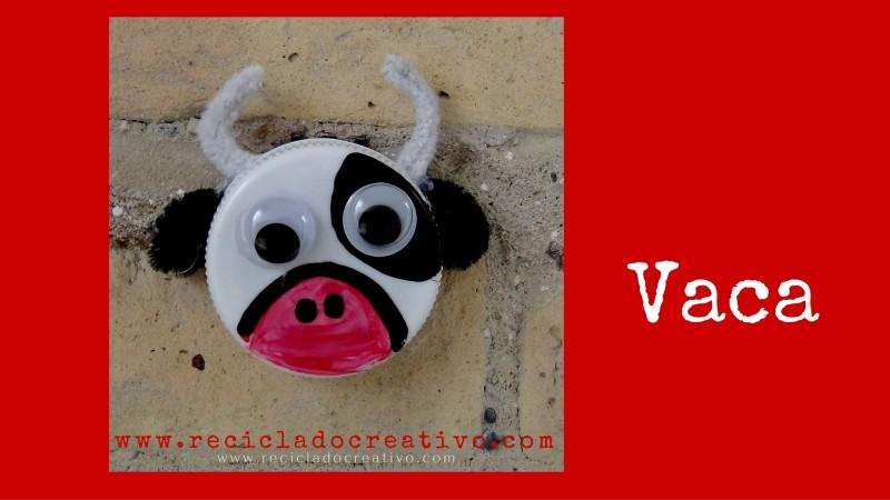 DIY Vaca Manualidad con niños con tapa de botella de plástico