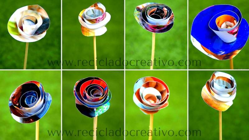 Flores parecidas a las rosas hechas con papel reciclado de fotos