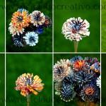 Flores como dalias con papel reciclado