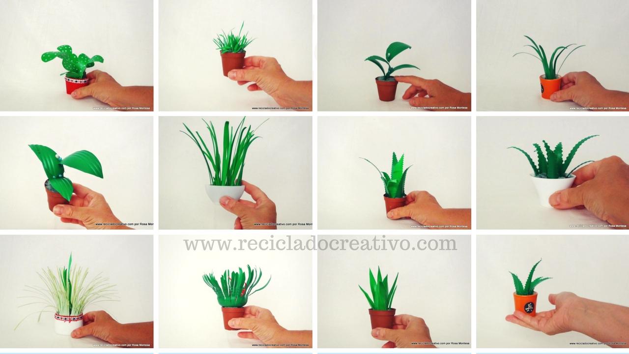Diy manualidades miniaturas plantas con botellas de - Como pintar botellas de plastico ...