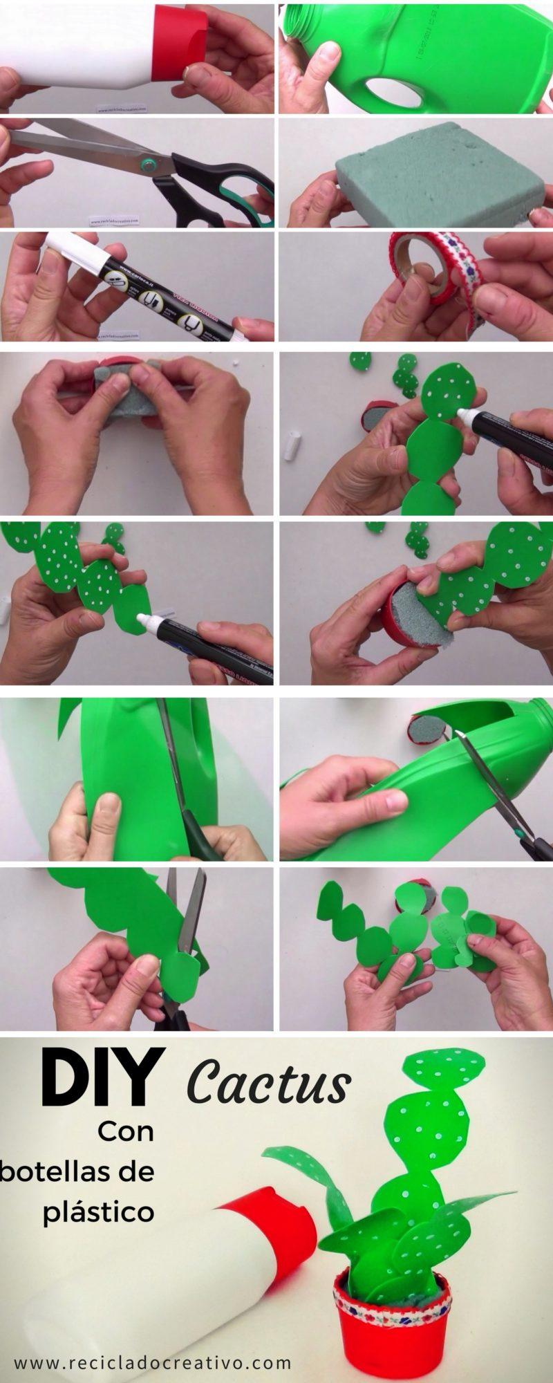 infographic DIY Cactus realizado reciclando botellas de plástico