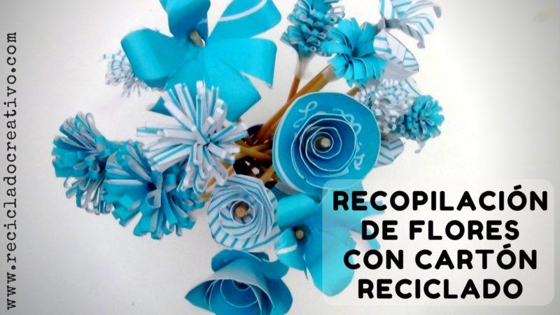 Flores con cartón - papel reciclado