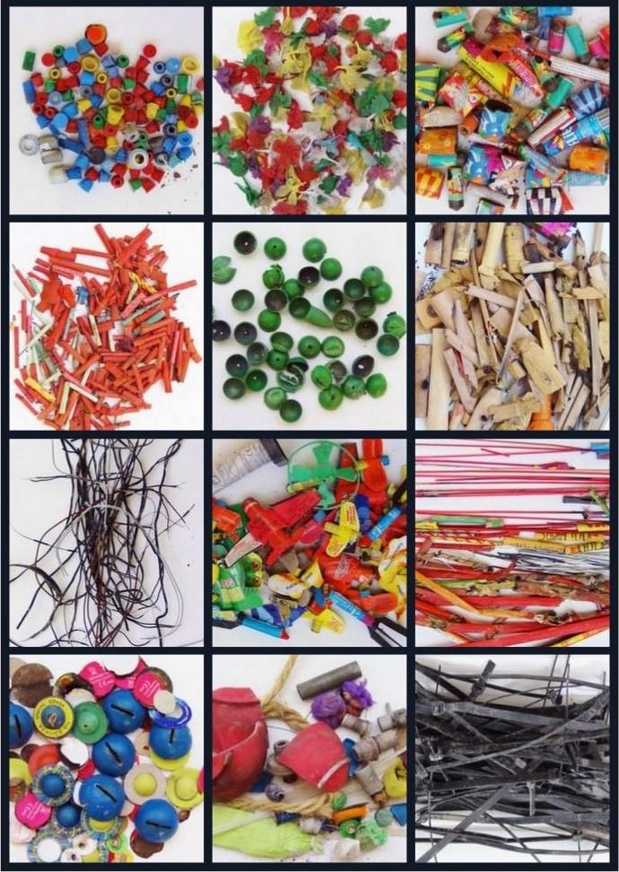 Petardos reciclados y convertidos en expresión visual