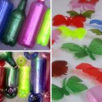 Botellas de plástico convertidas en mariposas, colgantes y estrellas