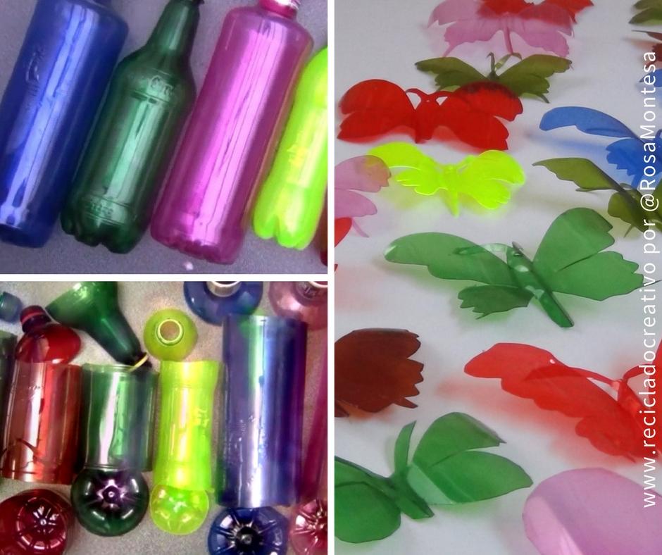 botellas de plstico convertidas en mariposas colgantes y estrellas - Botellas Plastico