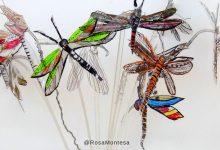 Mariposas pintadas a mano con botellas de plástico