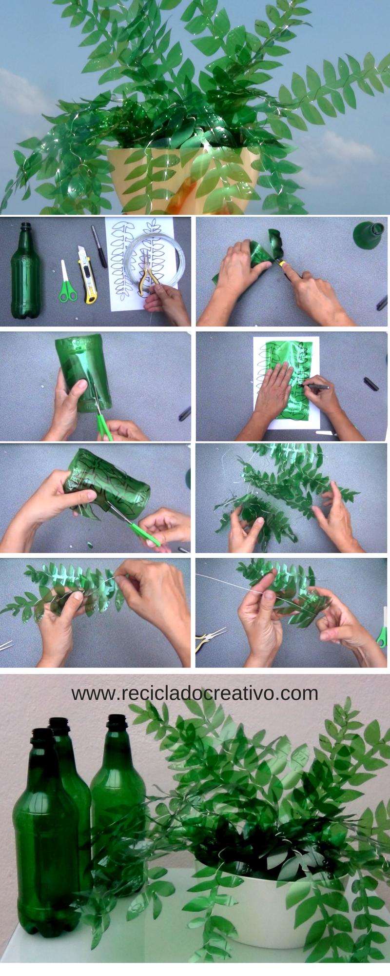 Paso a paso hojas verdes con botellas de plástico