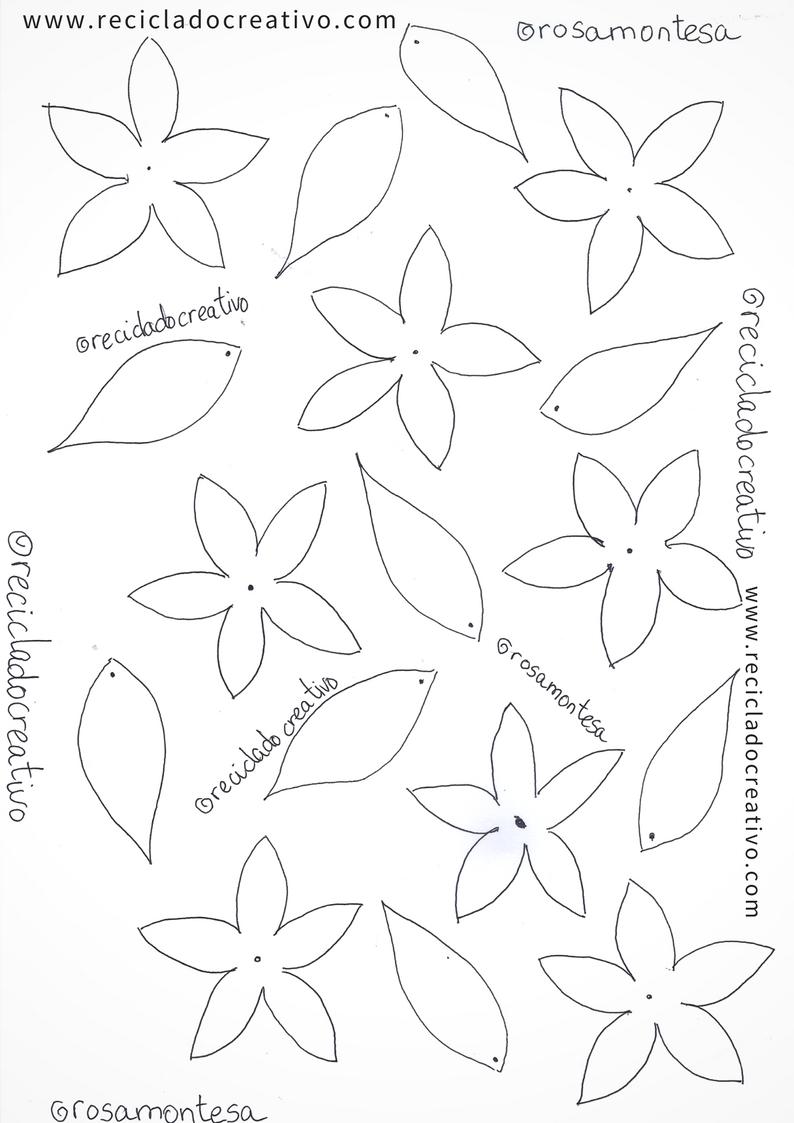 Plantillas, patrones o moldes para hacer flores jazmines