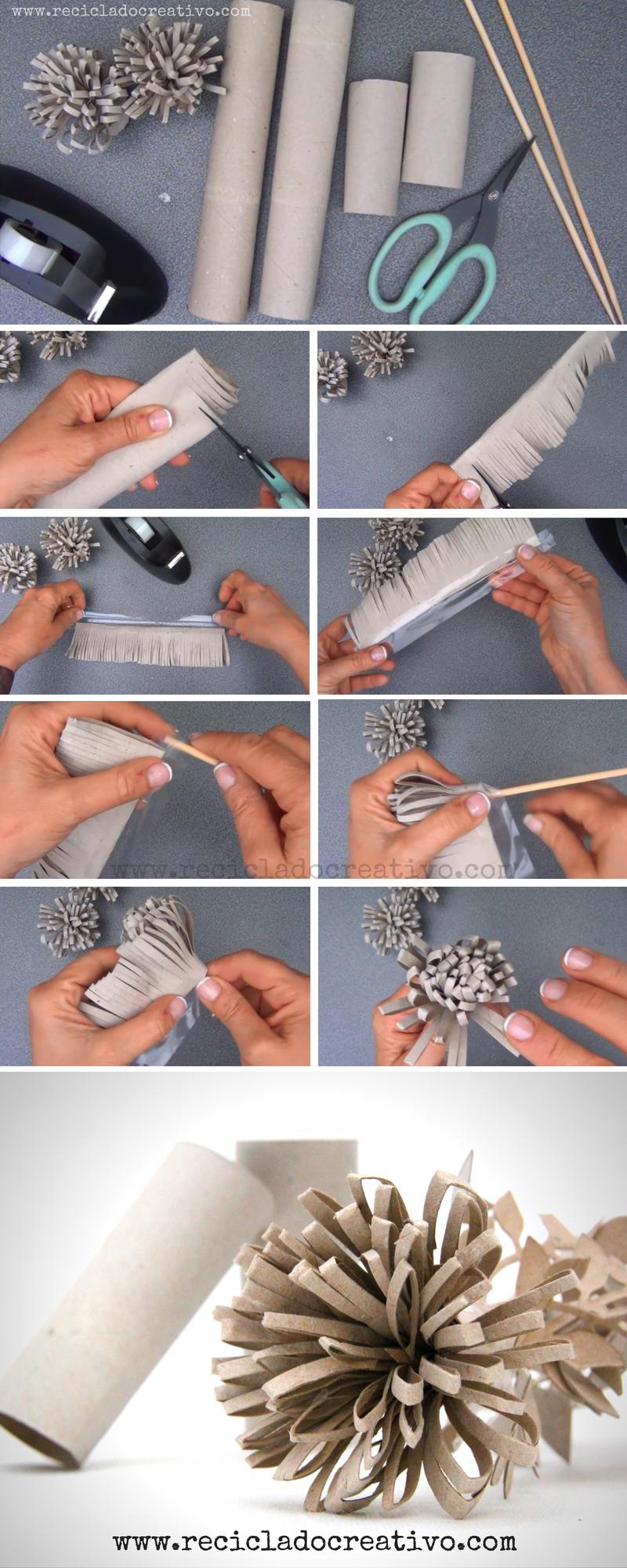 Paso a paso flores con rollos de papel de cartón