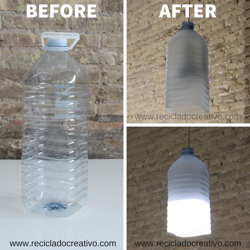 Lámpara reciclando envases de plástico