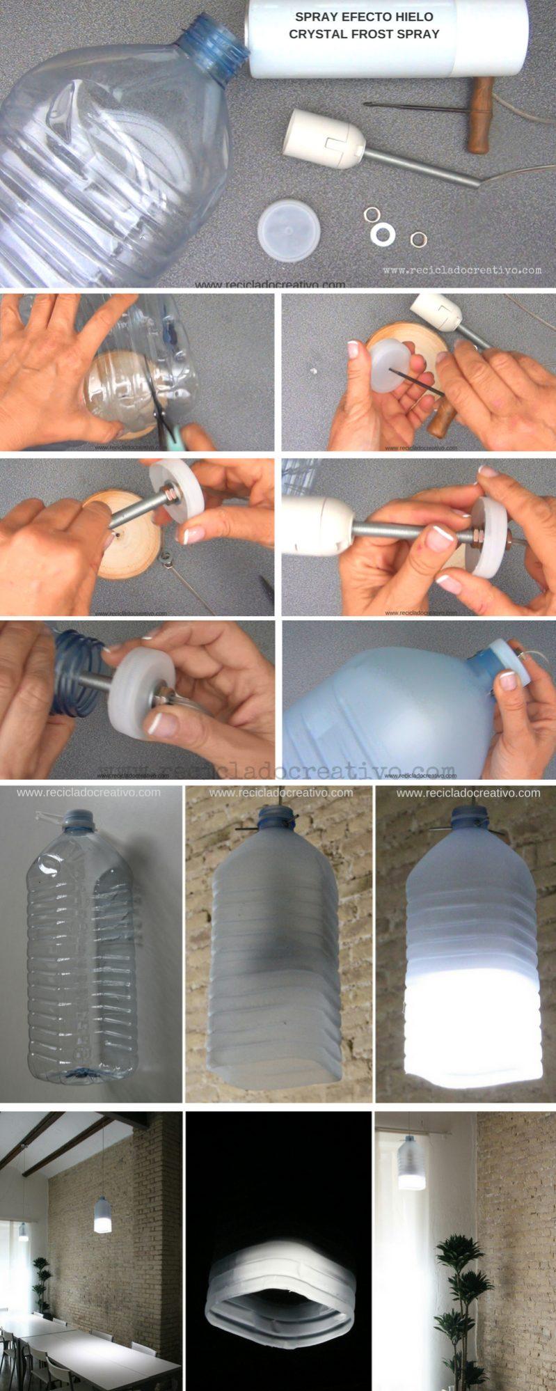 Paso a paso lámpara con garrafa de plástico