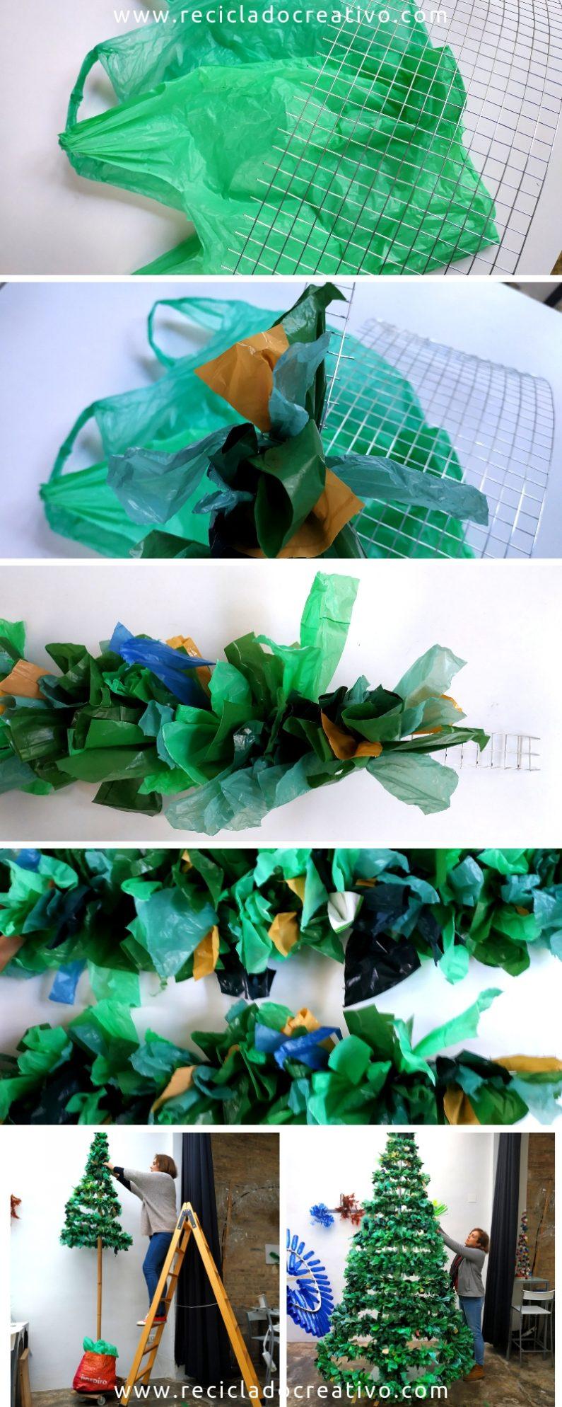 Paso a paso Arbol de Navidad con bolsas de plástico