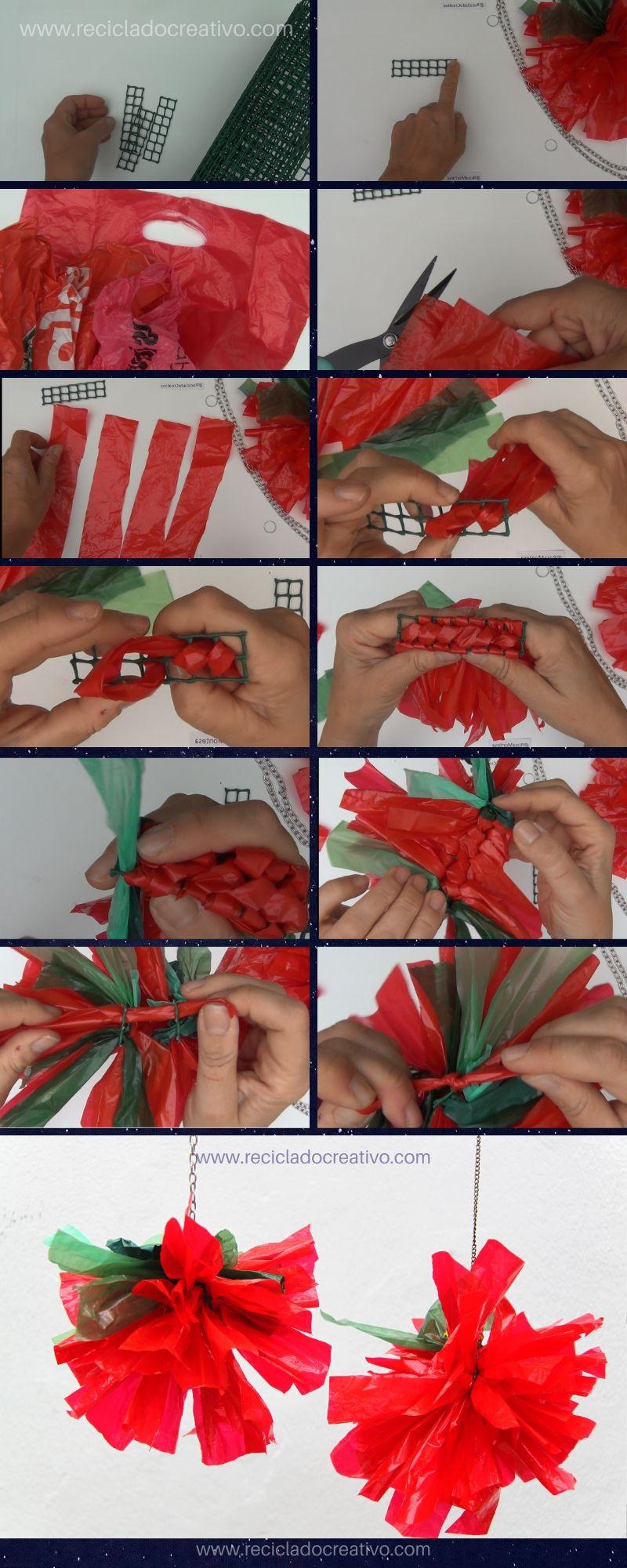 Paso a paso: flores de Navidad hechas con bolsas de plástico de color rojo