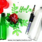 Flores reciclando botellas de plástico materiales y herramientas