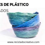 Cestas reciclando tapones de plástico