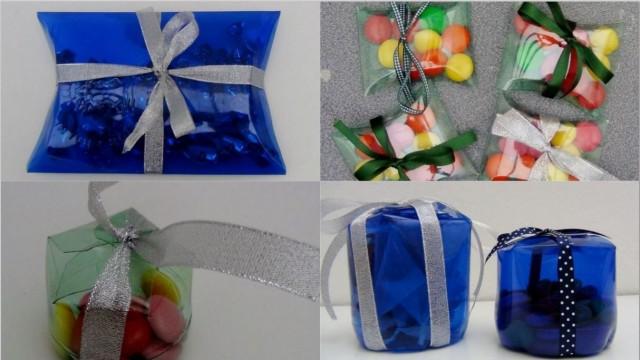 Cajas de regalo, dulceros y bomboneras con botellas de plástico recicladas. Rosa Montesa. Reciclado Creativo