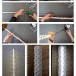 Pie de lámpara realizado reutilizando un soporte de papel higienico y un palo de escoba