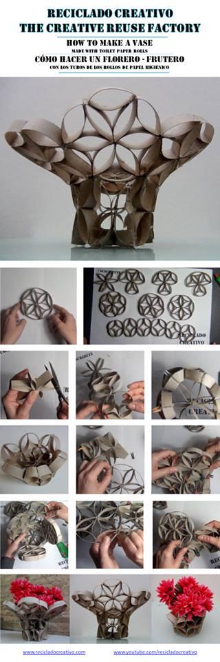Florero - frutero realizado con tubos de rollos de papel higienico. Ejercicio de clase de design 101