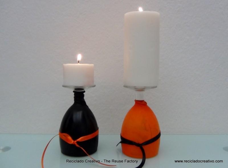 copas de cristal decorativas para Halloween convertidas en candelabros