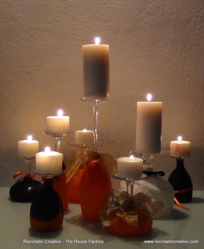 Halloween Inspiration and Ideas ¿Copas de vino, portavelas o candelabros? - Wine Glasses or Candleholders? We love to reuse objects. #Halloween, #reutilización, #decoración, #ninyos, #manualidades, #reciclado, #creativo, #recicladocreativo, #TheReuseFactory, #The Reuse Factory, #Reciclado Creativo, #recycling, #upcycling, #reuse, #reusing, #reciclaje, #reutilizar, #creative, #handcrafts, #handmade, #diy, #howto, #riciclo, #craft, #crafts, #tutorial, #pumpkins, #globos, #balloons, #caramelos, #chuches, #divertido, #gratis, #Do it Yourself, #smashing pumpkins, #free, #making