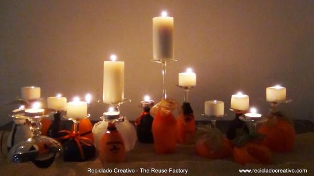Ideas Decorativas para Halloween con copas de vino realizamos portalámparas