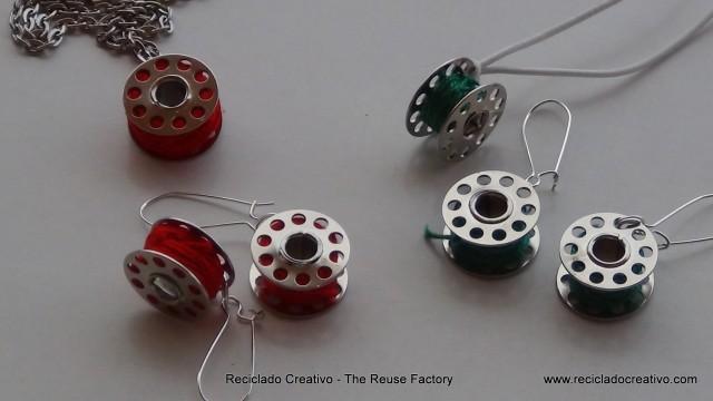 Pendientes y collar hechos con carretes de hilo de máquina de coser