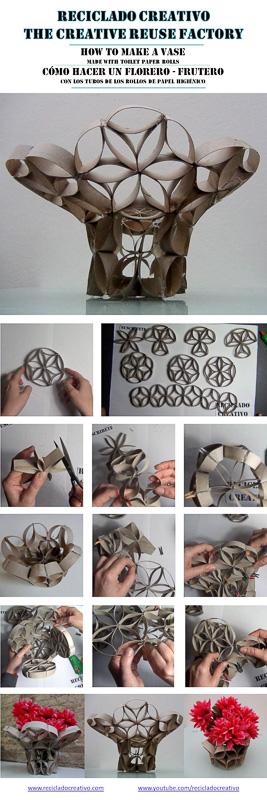 Infografía cómo hacer un florero con rollos de papel higienico