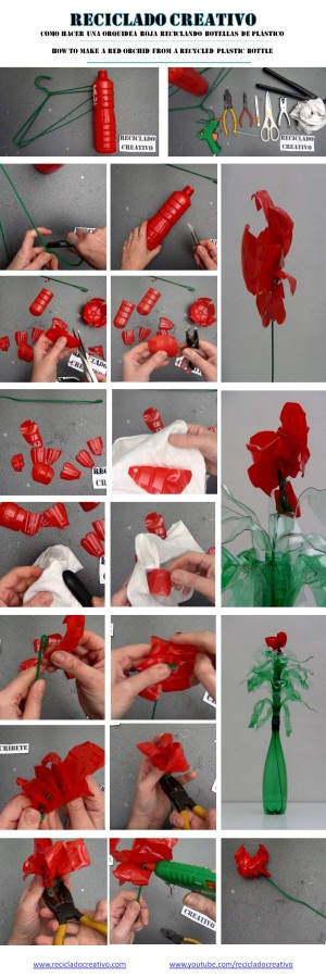 Cómo realizar una flor roja parecida a una orquídea reciclando una botella de plástico - How to make a red flower (orchid) recycling a plastic bottle