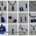 Bisutería realizada con botellas de plástico recicladas. Collares, pendientes, colgantes. Jewelry made out of recycled plastic bottles