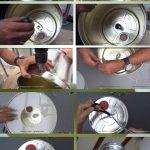 Lámparas realizadas con botes de metal reciclados