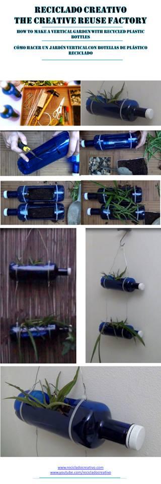 Vertical Garden with recycled plastic bottles Jardín vertical con botellas de plástico recicladas