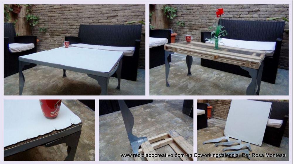 Mesa de centro con un palet y unas patas recicladas