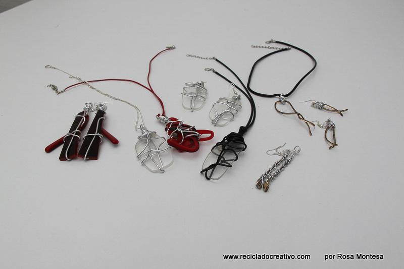 Bisutería con gafas recicladas. Pendientes y colgante con los cristales de gafas viejas