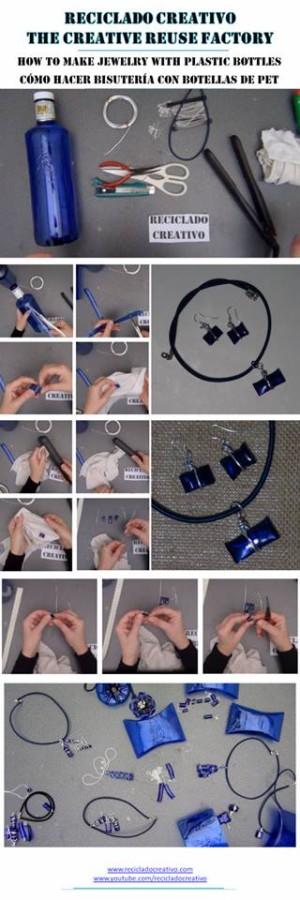sutería realizada con botellas de plástico azul y alambre de aluminio