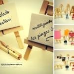 Caballete en miniatura con pinzas de madera de tender la ropa