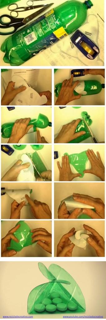 Infographic cómo hacer una caja triangular con una botella de plástico