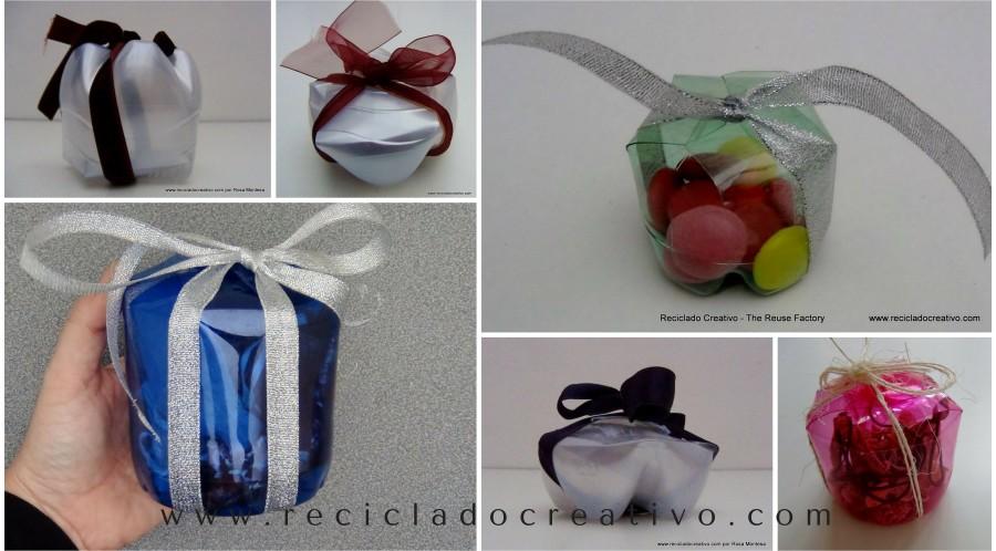 Cajas de regalo, bomboneras y dulceros realizados con botellas de plástico. Reciclado, reciclaje, recycling