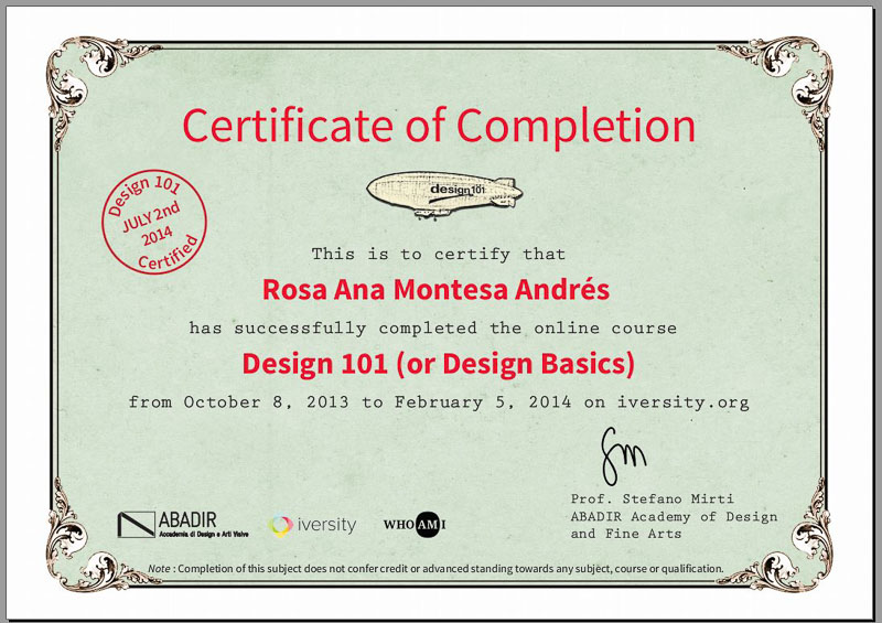 certificado design101  Rosa Montesa