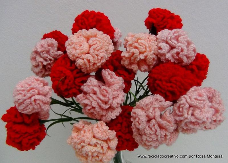 Claveles De Ganchillo Flores De Crochet Reciclado Creativo Por - Flores-ganchillo