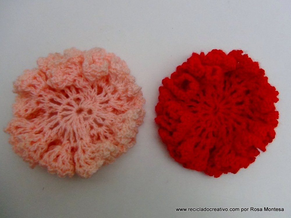 Claveles de ganchillo flores de crochet reciclado - Hacer flores de ganchillo ...