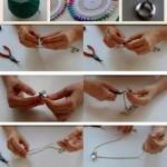 Colgante y pendientes realizados con carretes de máquinas de coser